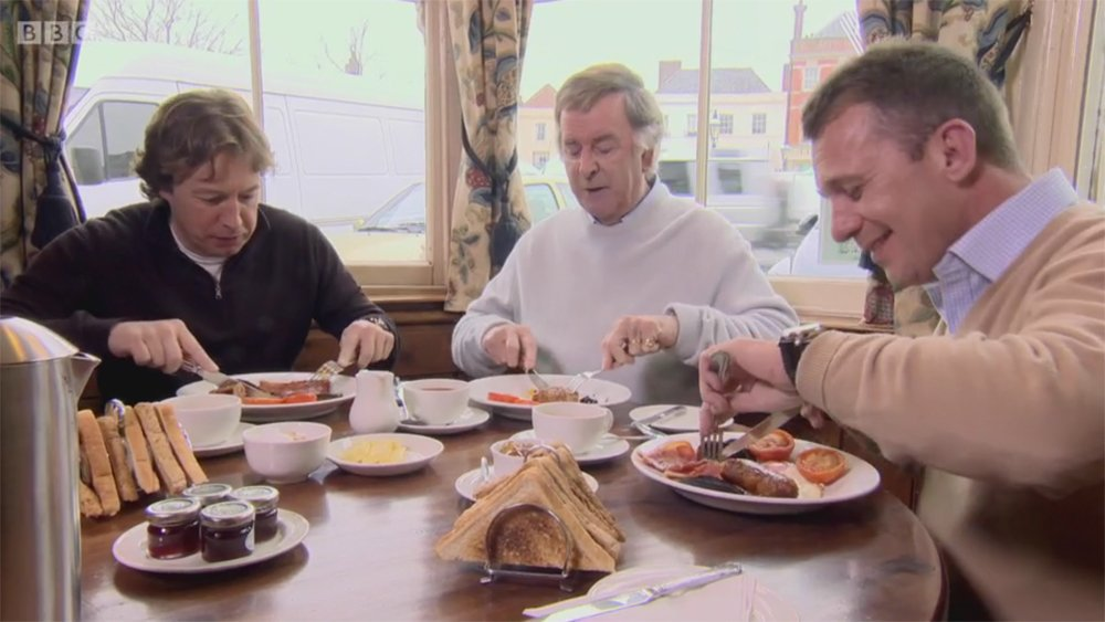 Terry Wogan eating a full English breakfast,